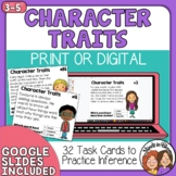 Character Traits Task Cards Making Inferences Print and Digital with TpT Easel