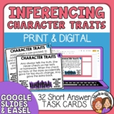 Character Traits Task Cards - Inference (short answer)