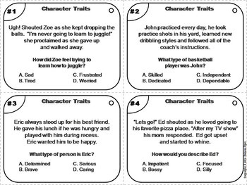 Character Traits Task Cards 3rd 4th 5th 6th Grade Reading Comprehension