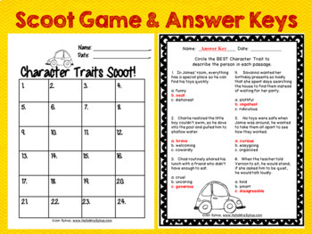 Character Traits 24 Task Cards Scoot and Assessment for grades 2-3