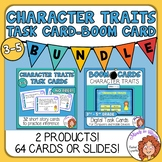 Character Traits Task Cards and Digital Boom Cards Bundle