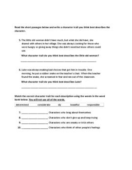 Third Grade Character Traits Test