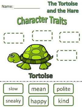 Character Traits Tortoise and the Hare- tortoise