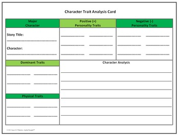 Character Traits Unit Resources Inferring Analyzing Evaluating Common Core