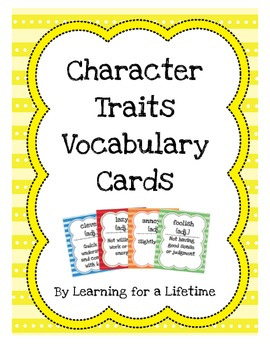 Character Traits Vocabulary Cards