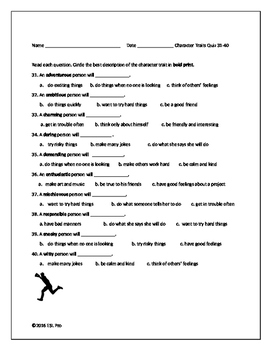Character Traits Vocabulary Quiz (5 x 10 Terms)