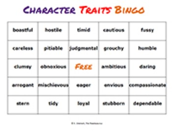 Character Traits Vocabulary Unit: Words to Help Your Students Infer