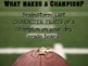 Character Traits: What Makes a Champion? Football Writing Activity