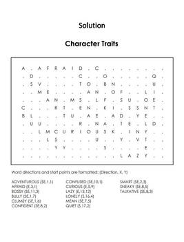 Character Traits With Pictures Word Search/ Coloring Sheet