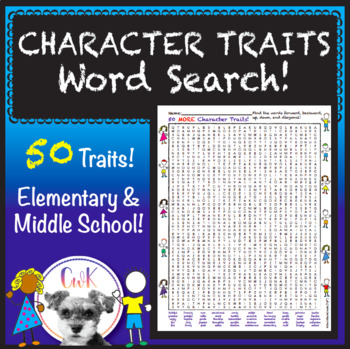 Character Traits Word Search! 50 Traits!