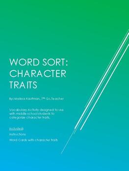 Character Traits Word Sort