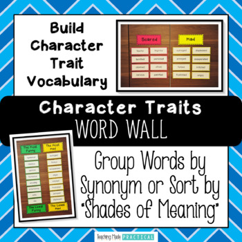 Character Traits Word Wall to Build Vocabulary