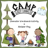 Character Traits Wordsearch Activity - Camping Themed Classroom Management