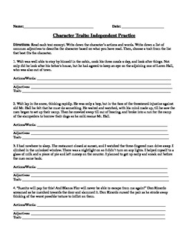 Character Traits Worksheet by MsB | Teachers Pay Teachers