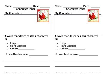Character Traits Worksheet for the Little Red Hen