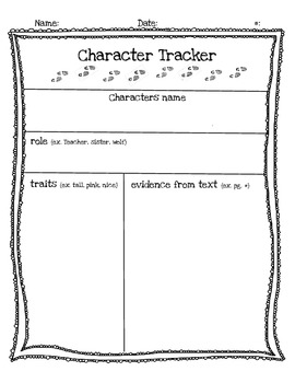 Character Traits Worksheet/Graphic Organizer