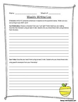 Character Traits Writing Log