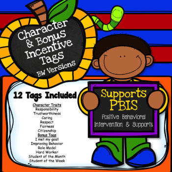 Brag Tags Character Traits and Bonus Tags (BW) - Supports PBIS