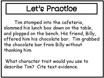 Character Traits and Citing Text Evidence Power Point