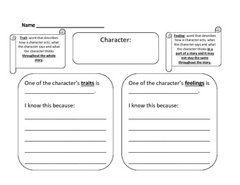 Character Traits and Feelings Chart