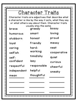 Character Traits and Feelings Resource