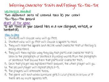 Character Traits and Feelings Tic Tac Toe