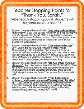 """Character Traits and Feelings with """"Thank You, Sarah."""""""