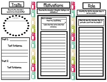 Character Traits and Motivations Graphic Organizer