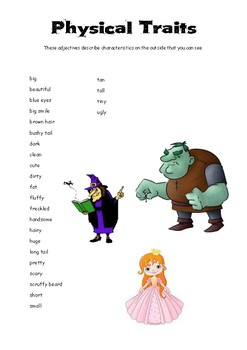 Character Traits and Physical Traits Poster