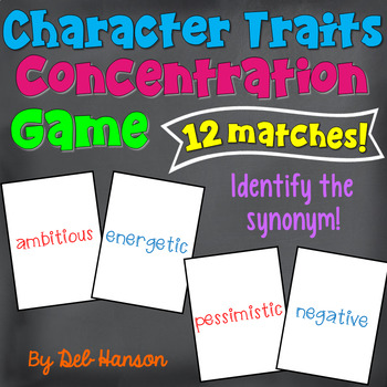Character Traits and Synonyms Memory Game