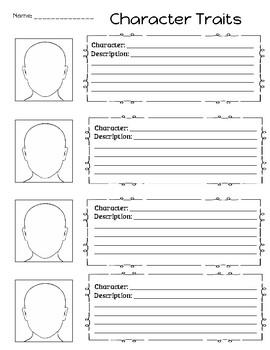 Blank Character Traits worksheet