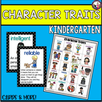 Character Traits for Kindergarten! Great for Vocabulary Bu