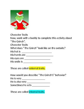 Character Traits for Rudolph the Red Nosed Reindeer and The Grinch