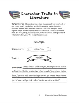 Character Traits in Literature: A Text-Based Vocabulary Activity for Any Novel