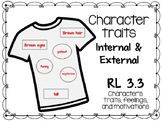 Character Traits- internal and External RL 3.3- T-shirt Activity