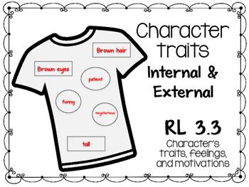Character Traits- internal and External RL 3.3- T-shirt Activity