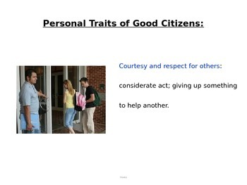 Character Traits of a Good Citizen power point (CE.4)