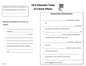 Character Traits of a Good Citizen note page (CE.4a)