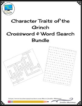 Character Traits of the Grinch Crossword & Word Search Bundle