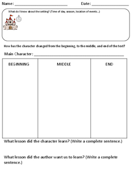 Character Traits over Time Graphic Organizer
