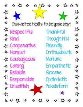 Character Traits to be your best- poster