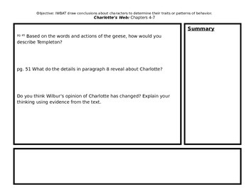 Character Traits using Charlotte's Web Chapters 4-7
