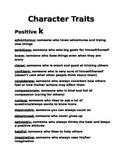 Character Traits with Definitions