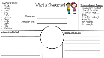 Character Traits worksheet with evidence
