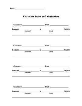 Character Traits/Motivation - Common Core Aligned: RL.2.3, 3.3, 4.3