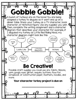 Character Turkey Disguise Project FREEBIE!