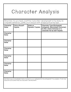 Character Type and Development Analysis Form
