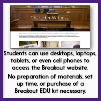 Character Types & Characterization Digital Breakout Activity - Character Witness