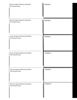 Character Types Foldable