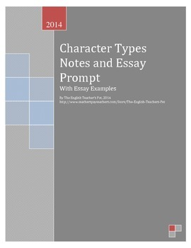Character Notes and Essay Prompt with Example Essay